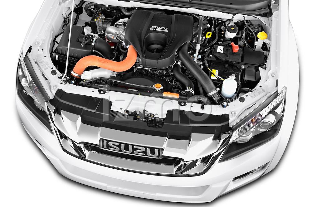 Car Stock 2015 Isuzu D-Max L+ 4 Door Pickup 2WD Engine high angle detail view