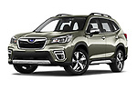 Stock pictures of low aggressive front three quarter view of 2019 Subaru Forester e-Boxer-Premium 5 Door SUV Low Aggressive
