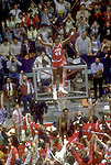 04 APR 1983:   North Carolina State center Cozell McQueen (45) celebrates victory during the NCAA Men's National Basketball Final Four championship held in Albuquerque, NM, at the University Arena. North Carolina State defeated Houston 54-52 to win the title. Photo by Rich Clarkson/NCAA Photos.SI CD 1650-14