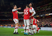 Goal celebrations after Joe Willock of Arsenal scores to make it 3-0 during the UEFA Europa League match between Arsenal and Standard Liege at the Emirates Stadium, London, England on 3 October 2019. Photo by Andrew Aleks.