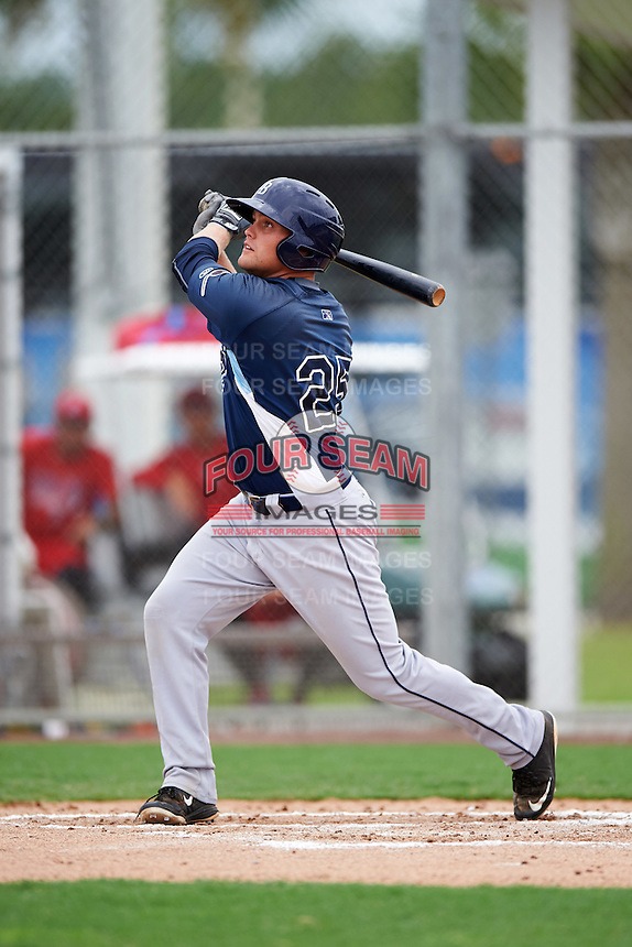 GCL Rays designated hitter Joey Roach (25) at bat during the second game of a doubleheader against the GCL Red Sox on August 9, 2016 at JetBlue Park in Fort Myers, Florida.  GCL Rays defeated GCL Red Sox 9-1.  (Mike Janes/Four Seam Images)