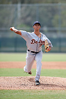Detroit Tigers pitcher Aaron Fernandez (9) delivers a pitch during an Instructional League game against the Pittsburgh Pirates on October 6, 2017 at Pirate City in Bradenton, Florida.  (Mike Janes/Four Seam Images)