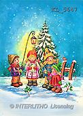 Interlitho, Dani, CHRISTMAS SANTA, SNOWMAN, nostalgic, paintings, 4 kids, lantern, tree(KL5647,#X#) Weihnachten, nostalgisch, Navidad, nostálgico, illustrations, pinturas