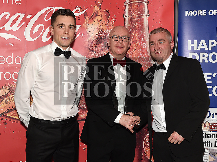 David O'reilly presents the Team award to Ronan Phillips and Andy McDonnell from Newtown Blues at the Drogheda Independent Sports Star Awards in the Westcourt Hotel.  Photo:Colin Bell/pressphotos.ie