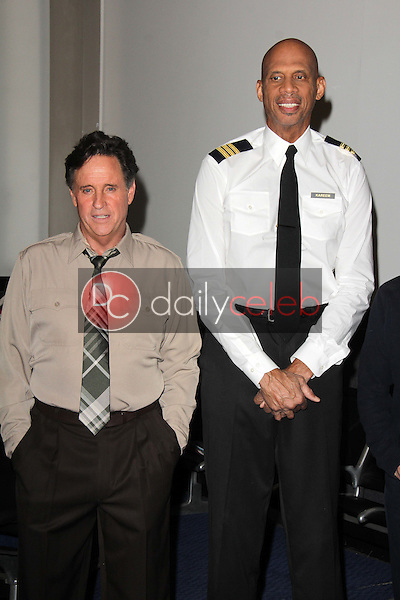 """Robert Hays, Kareem Abdul-Jabbar<br /> at a reunion of """"Airplane"""" original castmembers and directors to film spots for the Wisconsin Department of Tourism, Air Hollywood, Pacoima, CA 09-19-13<br /> David Edwards/Dailyceleb.com 818-249-4998"""