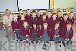 Mrs Joan Scanlon with her Junior Infants class from Monagea NS who started their school journey last Thursday morning.