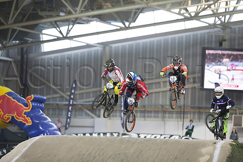 19.04.2015.  Manchester, England. BMX Supercross Day Two. Jared Garcia (USA) leads during the Elite Men 1/4 Finals (2nd  Round).