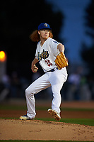 Rancho Cucamonga Quakes starting pitcher Dustin May (36) delivers a pitch during a California League game against the Lake Elsinore Storm at LoanMart Field on May 19, 2018 in Rancho Cucamonga, California. Lake Elsinore defeated Rancho Cucamonga 10-7. (Zachary Lucy/Four Seam Images)
