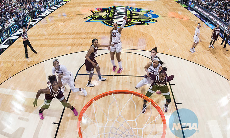 DALLAS, TX - APRIL 2: A'ja Wilson #22 of the South Carolina Gamecocks during the championship game against the Mississippi State Lady Bulldogs during the 2017 Women's Final Four at American Airlines Center on April 2, 2017 in Dallas, Texas.<br /> (Photo by Ben Solomon/NCAA Photos via Getty Images)