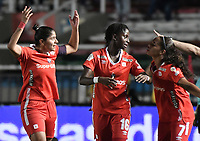 CALI - COLOMBIA, 24-09-2019: Catalina Usme del América celebra después de anotar el primer gol de su equipo partido por la final ida de la Liga Femenina Aguila 2019 entre América de Cali e Independiente Medellín jugado en el estadio Pascual Guerrero de la ciudad de Cali. / Catalina Usme of America celebrates after scoring the first goal of his team during first leg final match as part of Aguila Women League 2019 between America de Cali and Independiente Medellin played at Pascual Guerrero stadium in Cali. Photo: VizzorImage / Gabriel Aponte / Staff
