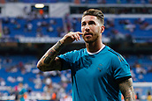 13th September 2017, Santiago Bernabeu, Madrid, Spain; UCL Champions League football, Real Madrid versus Apoel; Sergio Ramos Garcia (4) Real Madrid during warm-up