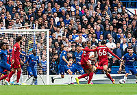Trent Alexander-Arnold of Liverpool scores during the Premier League match between Chelsea and Liverpool at Stamford Bridge, London, England on 22 September 2019. Photo by Liam McAvoy / PRiME Media Images.