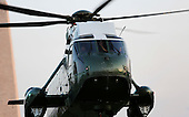 Marine One, with United States President Barack Obama aboard, returns to the White House after the President traveled to the Florida Everglades to deliver remarks on the threat that climate change poses to the US economy, April 22, 2015 in Washington, DC. <br /> Credit: Aude Guerrucci / Pool via CNP