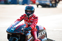 Nov 17, 2019; Pomona, CA, USA; NHRA pro stock motorcycle rider Matt Smith during the Auto Club Finals at Auto Club Raceway at Pomona. Mandatory Credit: Mark J. Rebilas-USA TODAY Sports