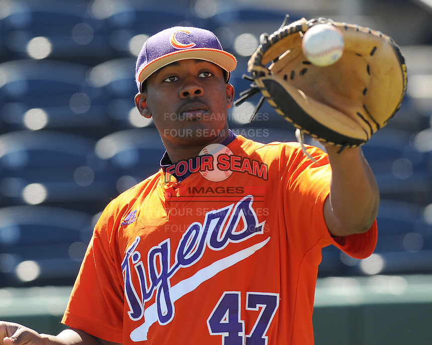 PhoClemson catcher Marcus Curry (47) prior to a game between the Clemson Tigers and South Carolina Gamecocks Saturday, March 6, 2010, at Fluor Field at the West End in Greenville, S.C. Photo by: Tom Priddy/Four Seam Images