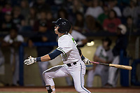 Hillsboro Hops left fielder Kevin Watson Jr (27) follows through on his swing during a Northwest League game against the Salem-Keizer Volcanoes at Ron Tonkin Field on September 1, 2018 in Hillsboro, Oregon. The Salem-Keizer Volcanoes defeated the Hillsboro Hops by a score of 3-1. (Zachary Lucy/Four Seam Images)