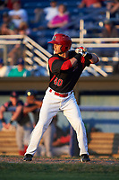Batavia Muckdogs right fielder Harrison White (40) at bat during a game against the Lowell Spinners on July 11, 2017 at Dwyer Stadium in Batavia, New York.  Lowell defeated Batavia 5-2.  (Mike Janes/Four Seam Images)