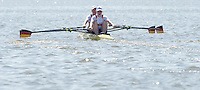 Brandenburg. GERMANY.<br /> GER W2X, Bow, Julia  LIER and Mareike ADAMS, at the start of their heat at the 2016 European Rowing Championships at the Regattastrecke Beetzsee<br /> <br /> Friday  06/05/2016<br /> <br /> [Mandatory Credit; Peter SPURRIER/Intersport-images]