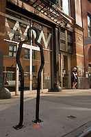 "New York, NY 21 August 2008 - One of nine bicycle racks, designed by David Byrne of the Talking Heads, entitled ""The Chelsea"""