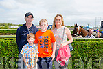 Frank Slattery, Killian Slattery, Pierce Slattery and Heather McGiver from Killarney  at the Kerry International Horse Racing at Ballybeggan Race Track on Sunday dedicated to the memory of John Browne