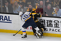 June 6, 2019: St. Louis Blues center Brayden Schenn (10) checks Boston Bruins defenseman Charlie McAvoy (73) during game 5 of the NHL Stanley Cup Finals between the St Louis Blues and the Boston Bruins held at TD Garden, in Boston, Mass. The Blues defeat the Bruins 2-1 in regulation time. Eric Canha/CSM