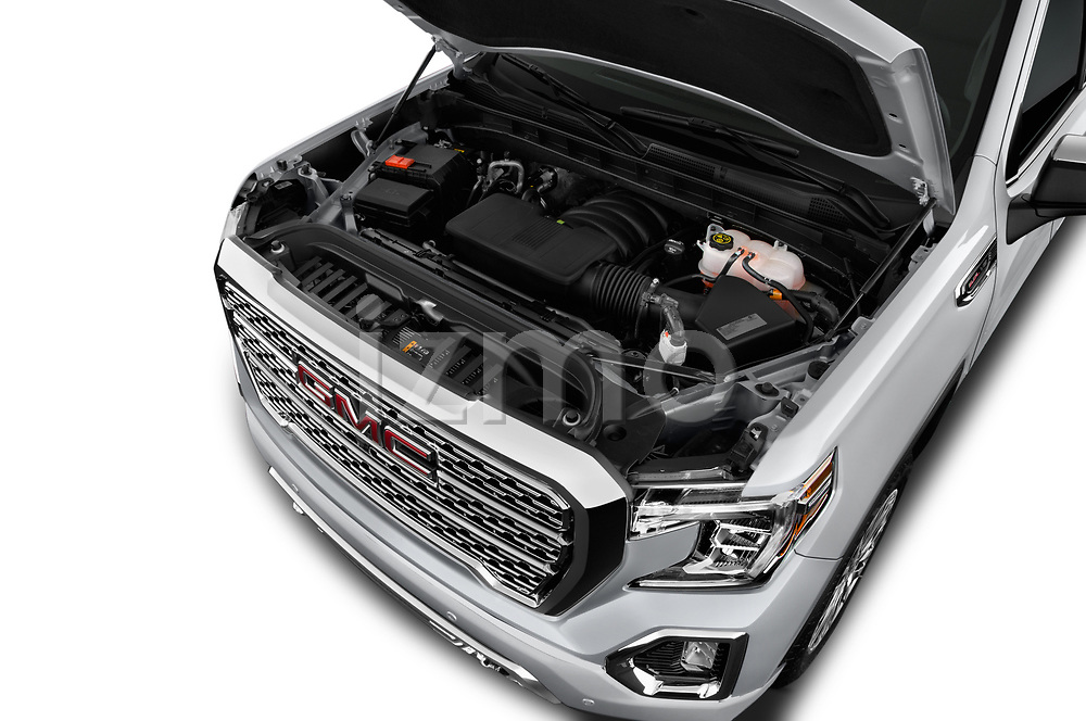 Car stock 2019 GMC Sierra 1500 Denali Base 4 Door Pick Up engine high angle detail view