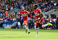 Middlesbrough's Britt Assombalonga celebrates scoring the opening goal <br /> <br /> Photographer Juel Miah/CameraSport<br /> <br /> The EFL Sky Bet Championship - Bolton Wanderers v Middlesbrough - Saturday 9th September 2017 - Macron Stadium - Bolton<br /> <br /> World Copyright &copy; 2017 CameraSport. All rights reserved. 43 Linden Ave. Countesthorpe. Leicester. England. LE8 5PG - Tel: +44 (0) 116 277 4147 - admin@camerasport.com - www.camerasport.com