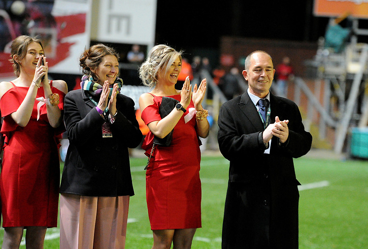 Friends and family all smiles as happy couple get married as part of popular tv show 'Don't tell the bride' filming during half time <br /> <br /> Photographer Hannah Fountain/CameraSport<br /> <br /> Gallagher Premiership - Leicester Tigers v Northampton Saints - Friday 22nd March 2019 - Welford Road - Leicester<br /> <br /> World Copyright © 2019 CameraSport. All rights reserved. 43 Linden Ave. Countesthorpe. Leicester. England. LE8 5PG - Tel: +44 (0) 116 277 4147 - admin@camerasport.com - www.camerasport.com