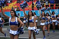 BOGOTÁ - COLOMBIA, 19-08-2018:Porristas de Millonarios durante el partido entre Millonarios y  Deportivo Cali  por la fecha 5 de la Liga Águila II 2018 jugado en el estadio Nemesio Camacho El Campín de la ciudad de Bogotá. / Cheerleaders during match Millonarios  and Deportivo Cali  for the date 5 of the Liga Aguila II 2018 played at the Nemesio Camacho El Campin Stadium in Bogota city. Photo: VizzorImage / Felipe Caicedo / Staff.