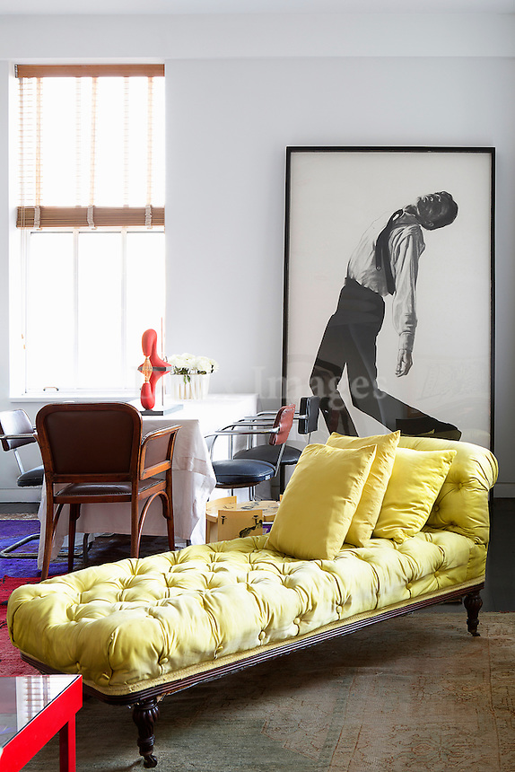 Modern yellow chaise lounge