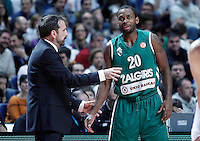 Zalgiris Kaunas' coach Joan Plaza (l) and Oliver Lafayette during Euroleague 2012/2013 match.January 11,2013. (ALTERPHOTOS/Acero) NortePHOTO
