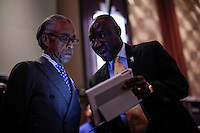 "Rev Al Sharpton and  attorney Benjamin Crump attend the ""Police Policy Panel"" during the 2015 National Action Network Convention in New York City. 04.08.2015. Kena Betancur/VIEWpress."