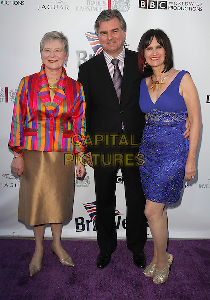 British Consul General, DAME BARBARA HAY, BOB PEIRCE & GUEST.5th Annual BritWeek Launch Party Held At The Los Angeles British Consulat, Los Angeles, California, USA..April 26th, 2011.full length pink stripe jacket blue yellow skirt dress gold black suit green purple .CAP/ADM/KB.©Kevan Brooks/AdMedia/Capital Pictures.