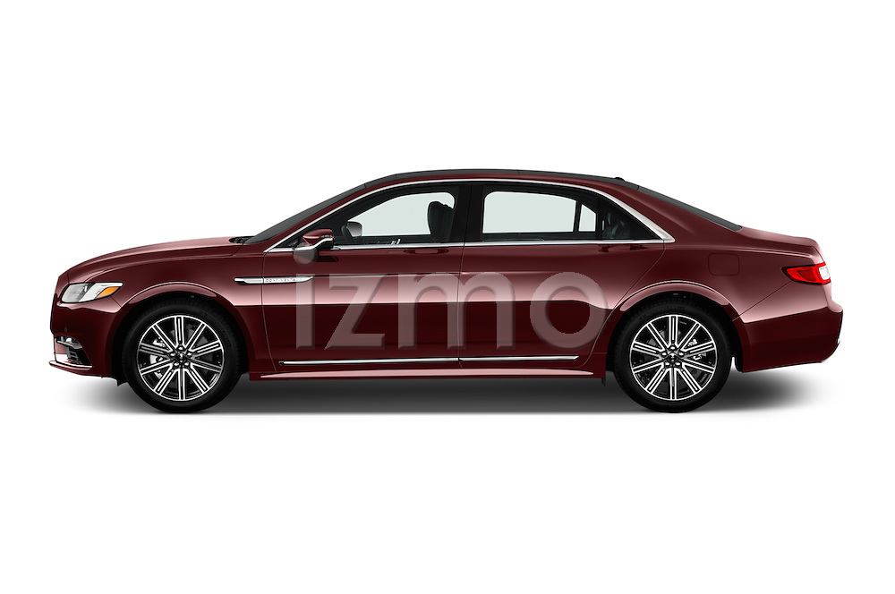 Car Driver side profile view of a 2017 Lincoln Continental Reserve 4 Door Sedan Side View