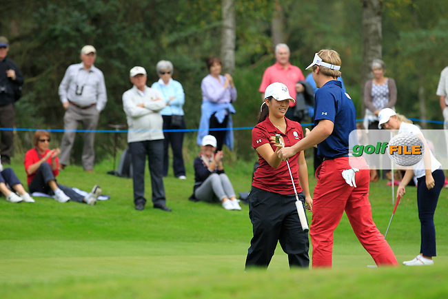 Andrea Lee (USA) on the 16th green of the Mixed Fourballs during the 2014 JUNIOR RYDER CUP at the Blairgowrie Golf Club, Perthshire, Scotland. <br /> Picture:  Thos Caffrey / www.golffile.ie