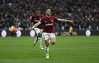 West Ham United's Javier Hernandez celebrates scoring his side's fourth goal <br /> <br /> Photographer Rob Newell/CameraSport<br /> <br /> The Premier League - West Ham United v Huddersfield Town - Saturday 16th March 2019 - London Stadium - London<br /> <br /> World Copyright © 2019 CameraSport. All rights reserved. 43 Linden Ave. Countesthorpe. Leicester. England. LE8 5PG - Tel: +44 (0) 116 277 4147 - admin@camerasport.com - www.camerasport.com