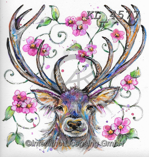 Interlitho-Theresa, REALISTIC ANIMALS, REALISTISCHE TIERE, ANIMALES REALISTICOS, paintings+++++,deer,KL4577,#a#, EVERYDAY ,innovative
