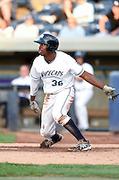 West Michigan Whitecaps outfielder Wynton Bernard (36) at bat during a game against the Great Lakes Loons on June 4, 2014 at Fifth Third Ballpark in Comstock Park, Michigan.  West Michigan defeated Great Lakes 4-1.  (Mike Janes/Four Seam Images)
