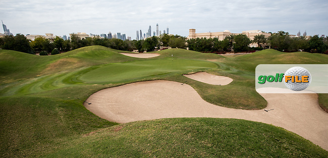 7th green at The Address Montgomerie Golf Club, Dubai, United Arab Emirates.  27/01/2016. Picture: Golffile | David Lloyd<br /> <br /> All photos usage must carry mandatory copyright credit (&copy; Golffile | David Lloyd)
