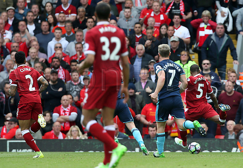 May 21st 2017, Anfield, Liverpool, Merseyside; EPL Premier league football, Liverpool versus Middlesbrough; Georginio Wijnaldum of Liverpool  scores the opening goal of the match in the 46th minute with a right footed shot