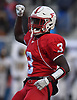 Justin Lescouflair #3 of Freeport reacts after a Uniondale fumble was recovered by the Red Devils in the first quarter of the Nassau County football Conference I semifinals at Shuart Stadium in Hempstead on Saturday, Nov. 10, 2018.
