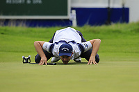 Stuart Manley (WAL) lines up his putt on the 18th green during Sunday's Final Round of the Northern Ireland Open 2018 presented by Modest Golf held at Galgorm Castle Golf Club, Ballymena, Northern Ireland. 19th August 2018.<br /> Picture: Eoin Clarke | Golffile<br /> <br /> <br /> All photos usage must carry mandatory copyright credit (&copy; Golffile | Eoin Clarke)