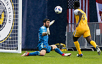 Nashville, TENN. - Saturday February 10, 2018: Alec Kann, ROPAPA MENSAH during a preseason exhibition match between Nashville SC vs Atlanta United FC at First Tennessee Park.