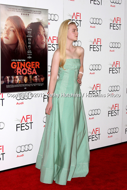 "LOS ANGELES - NOV 7:  Elle Fanning arrives at the ""Ginger And Rosa"" Special Screening at Graumans Chinese Theater on November 7, 2012 in Los Angeles, CA"