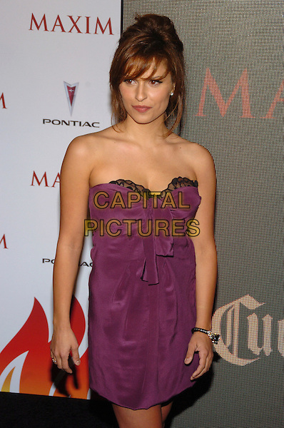 RAQUEL ALESSI.Maxim Magazine's 8th Annual Hot 100 Party at Gansevoort Hotel, New York City, New York, USA..May 16th, 2007.half length dress strapless purple black lace.CAP/ADM/BL.©Bill Lyons/AdMedia/Capital Pictures *** Local Caption ***