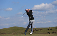 Tom Atkins during Round Two of the West of England Championship 2016, at Royal North Devon Golf Club, Westward Ho!, Devon  23/04/2016. Picture: Golffile | David Lloyd<br /> <br /> All photos usage must carry mandatory copyright credit (&copy; Golffile | David Lloyd)
