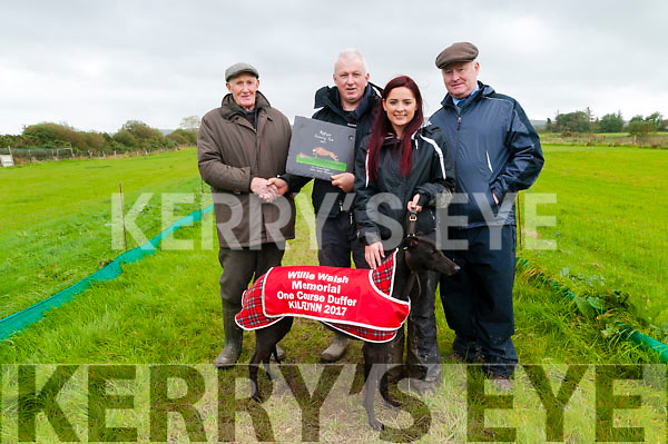 Kilflynn Coursing : Donie Walsh presenting  the trophy to Chris Houlihan, Ballyduff owner of Cashen Flo the winner of the Willie Walsh Memorial Cup at Kilfynn coursing on Sunday last. L-R: Willie  Walsh, Chris Houlihan, Vanessa Houlihan & DJ Histon ICC.