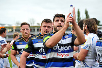 Rob Webber of Bath Rugby celebrates with the crowd after the match. Aviva Premiership match, between Bath Rugby and Exeter Chiefs on October 17, 2015 at the Recreation Ground in Bath, England. Photo by: Patrick Khachfe / Onside Images