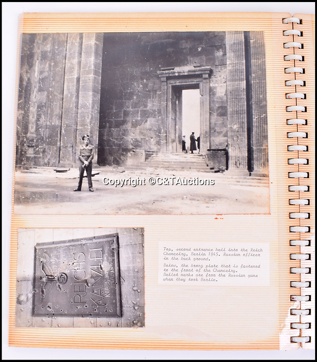 BNPS.co.uk (01202 558833)Pic: C&TAuctions/BNPS<br /> <br /> Reich Chancellery .<br /> <br /> Reich in Ruins - An incredible album of unseen photographs from Hitler's devastated Reich Chancellery, taken one of the first British soldiers into a devastated Berlin has come to light.<br /> <br /> The photo album was compiled by an elite soldier of the 1st Battalion Grenadier Guards that rolled into Berlin on 4th of July 1945. <br /> <br /> The photos show the inside of Hitler's spacious private office from behind his imposing desk and the conference hall where the Nazi high command met to plot their next move.<br /> <br /> By the time the unknown Guardsman set foot in the chancellery, its lavish marble interior had been battered by the Red Army assault and only a pile of rubble remained.<br /> <br /> The soldier composed an album of his own photographs alongside Nazi publicity postcards from the heyday of the Third Reich.