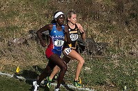 All-Americans Sharon Lokedi of Kansas and Karissa Schweizer of Missouri run stride for stirde, leading the womens 6k race at the 4250-meter mark at the NCAA Division I Cross Country Midwest Regional in Iowa City, Ia. Friday November 11, 2016. Schweizer would pull away in the last 400-meters with a strong kick to win in 19:54, while Lokedi would take 2nd in 20:00.